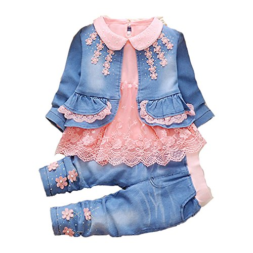 YYA Leisure Spring Trend 3 Pieces Sets T-Shirt&Cowgirl Suit(Pack of 3) (2~3Years, Orange) ()