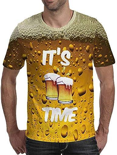 New Beer Bubble Print Camiseta Deportiva 3D de Manga Corta