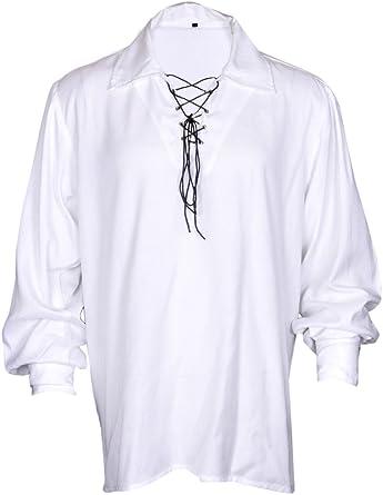 Casual Camiseta de Verano Renacimiento del Pirata Medieval Hombres del Hippie de Vestuario en Color Negro de Gran tamaño: Amazon.es: Ropa y accesorios