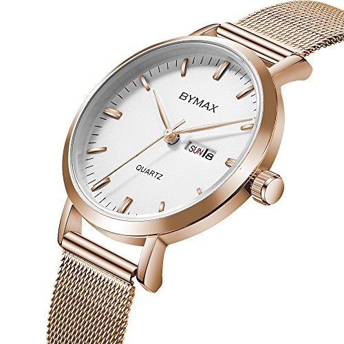 Women's Quartz Watches, Bymax Thin Fashion Analog Lady Dress Wrist Watch with Week Date Dial - Rose Gold