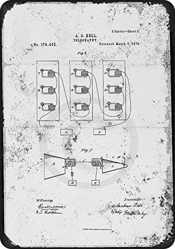 Nice Tin Sign Aluminum Retro 1876 Alexander Bell Telephone Patent Metal Sign 8 X 12 Inch ()