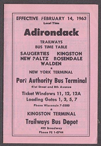 (Adirondack Trailways Bus Schedules 1963 Saugerties-Port Authority Kingston +)