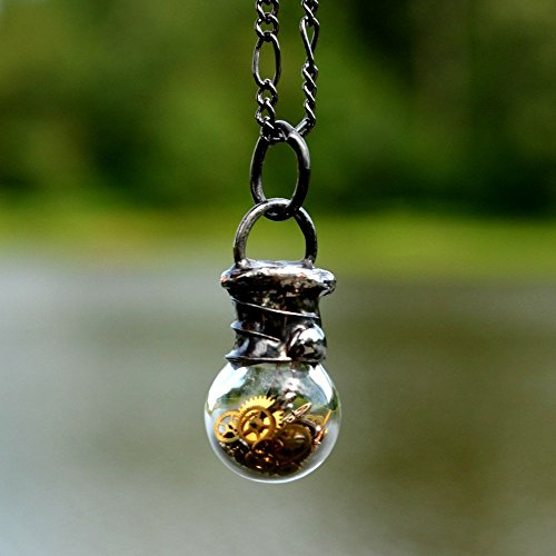 Handmade Tiny Hand Blown Glass Bottle Necklace with Antique Pocket Watch Parts, Steampunk Jewelry, Glass Apothecary Urn (2752m)