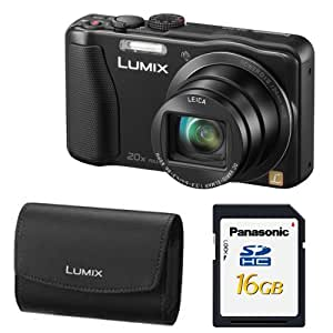 """Panasonic Lumix DMC-ZS25 16.1 MP Compact Digital Camera with 20x Intelligent Zoom (Black) With Lumix Case With 16 GB Memory Card Bundle MANUFACTURER REFURBISHED"""""""