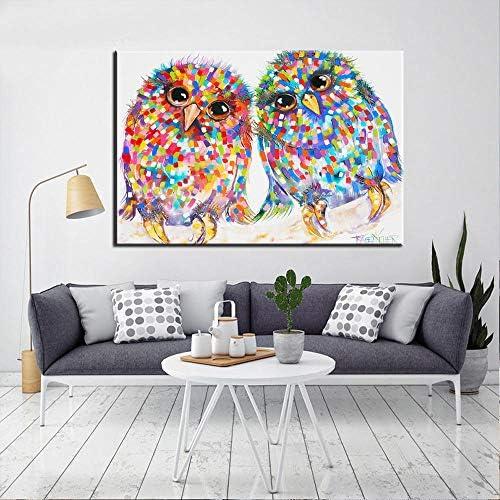 鮮やかな色の鳥壁アートキャンバスプリント抽象的な壁落書き動物キャンバス絵画ポップウォールアートキャンバス用キッズルーム-50×70センチフレームなし
