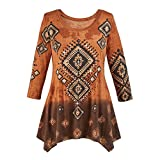 Collections Women's Diamond Aztec Sharkbite Tunic Top Southwestern Style, Three Quarter Sleeves, Brown Ombre, Brown, Medium