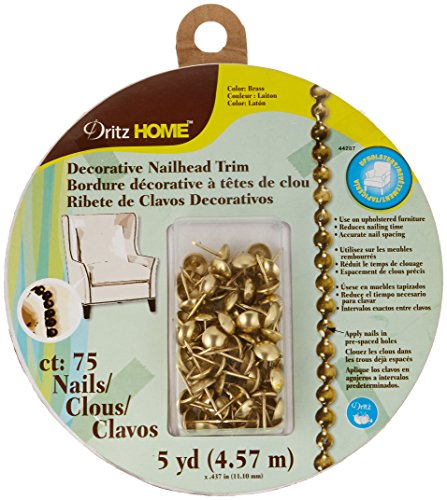 Dritz Home 44287 Smooth Decorative Nailhead Trim, 7/16-Inch x 5-Yards, Brass (75-Piece)