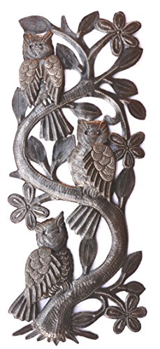 (Three Owls, Metal Wall from Haiti, Artistic Quality Designs, Outdoor Living Area 7