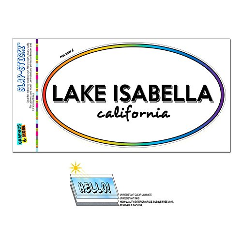 Graphics and More Rainbow Euro Oval Window Laminated Sticker California CA City State Lag - Mil - Lake Isabella