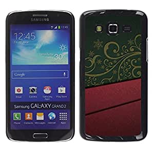 Be Good Phone Accessory // Dura Cáscara cubierta Protectora Caso Carcasa Funda de Protección para Samsung Galaxy Grand 2 SM-G7102 SM-G7105 // Design Interior Purple Green Pattern Art