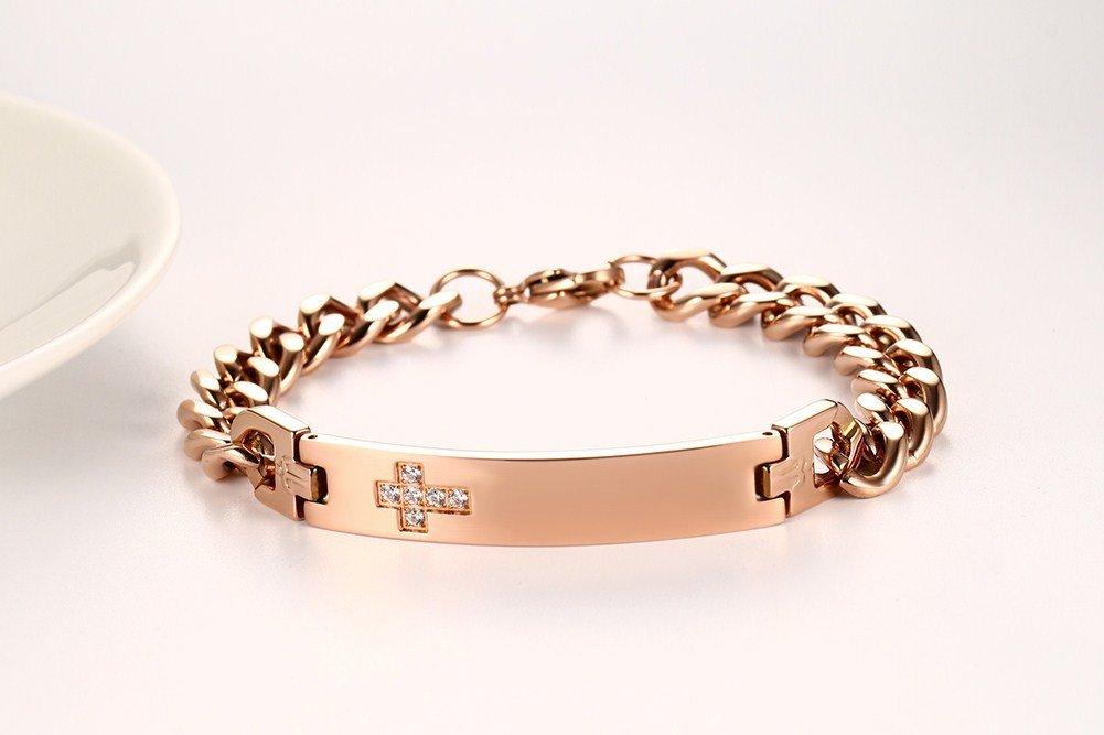 VNOX Free Engraving-9.5MM Stainless Steel CZ Cross Link Chain Lobster Bracelet for Men Women,Rose Gold Plated by VNOX (Image #3)