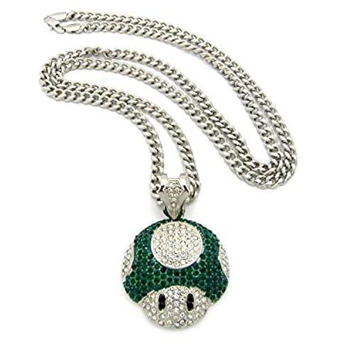Silver hip hop chain amazon mushroom face pendant mens iced out hip hop cuban link 30 chain necklace green silver aloadofball Images