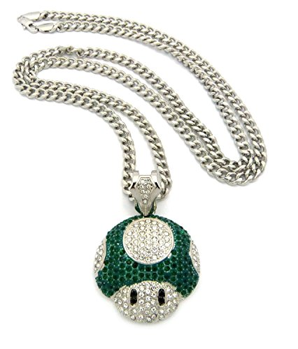 Green Pendant Man Silver (Mushroom Face Pendant Mens Iced Out Hip Hop Cuban Link 30