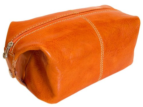 Floto Orange Leather Travel Dob (or Dopp) Kit by Floto