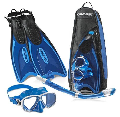 Cressi Palau Long Mask Fin Snorkel Set, Brisbane Blue, Small/Medium