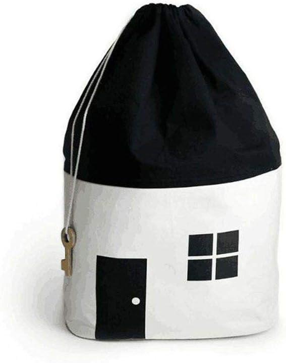 Storage Basket Baby Toy Storage Organizer Drawstring Bag Nordic Style House Shape Design Kids Storage Basket Gift Laundry Nappy Bags 65X40Cm,White,65X40Cm