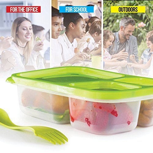 Bento Lunch Box 3 Compartment Food Containers – Set of 4 Storage Meal prep Container Boxes– Ideal for Adults, Toddler, Kids, Girls, and Boys – Free 2-in-1 Fork/Spoon & Puzzle Sandwich Cutter by Perfect Fit (Image #4)