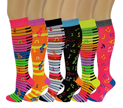 6 Pairs Women's Fancy Design Multi Colorful Patterned Knee High Socks,Music,Size 9-11 ( Fit women shoe size 4 to 10 )