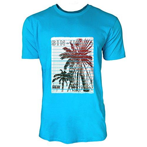 SINUS ART® Palmen mit Riesenrad im Surfer Stil Herren T-Shirts in Karibik blau Cooles Fun Shirt mit tollen Aufdruck
