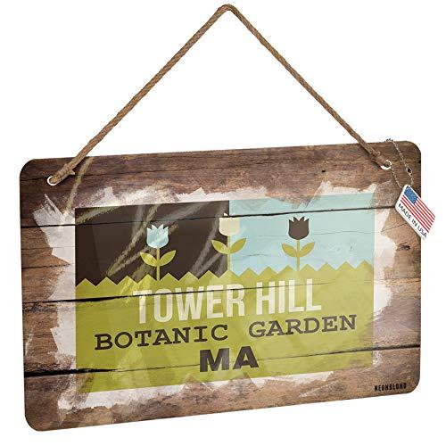 Botanic Garden Tower - NEONBLOND Metal Sign US Gardens Tower Hill Botanic Garden - MA Christmas Wood Print