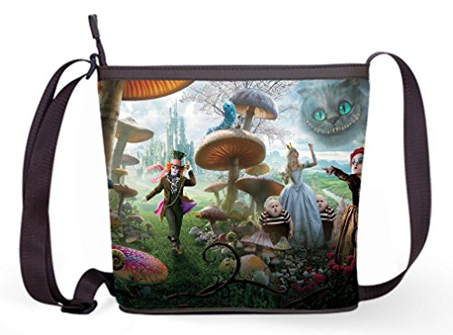 Ladies Sling Bag Shoulder Cross Body Bag with Alice in Wonderland Print.