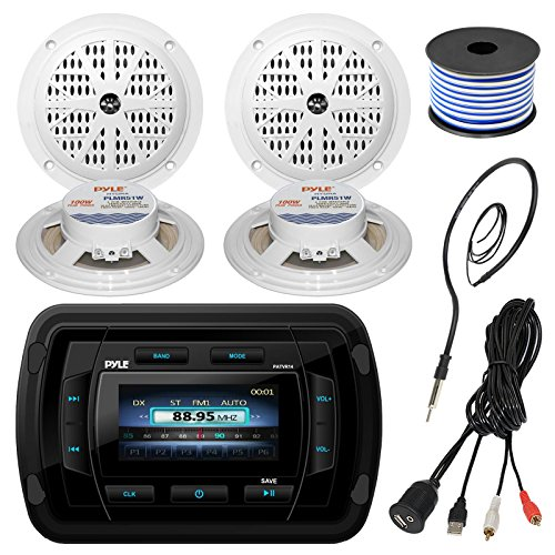 Pyle PATVR14 MP3 MP5 Bluetooth Marine Boat Stereo Receiver Bundle Combo with 4X White 5-1/4'' Inch Dual Cone Waterproof Stereo Speaker + Enrock Radio Antenna + USB/AUX to RCA Cable +18G 50-FT Wire