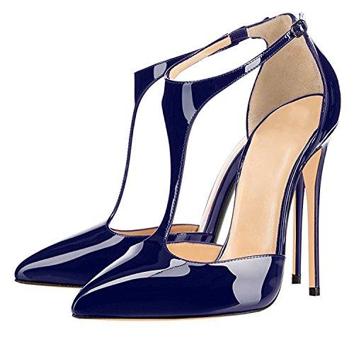 12cm Dress T Women's Stilettos Pumps Pointed Dark Heels Heel Toe Sammitop Blue High Shoes Strap YSwvxnv8d