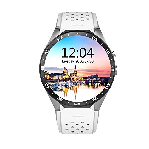 AWOW 3G WIFI Smart Watch Cell Phone All-in-One Android 5.1 Supports Nano SIM Card With GPS Camera Heart Rate Monitor Google Map Google Play(SilverWhite)