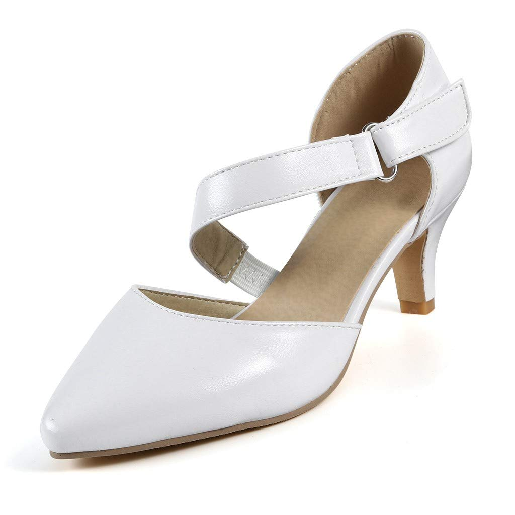Sharemen Womens Classic Low Mid Heels Shoes- Pointed, Closed Toe Low, Kitten Heel Pumps(White,US: 7) by Sharemen Shoes (Image #3)