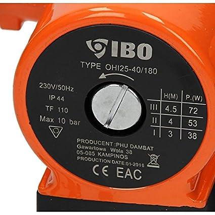 IBO Umw/älzpumpe sort Heizungspumpe Pumpe Heizung Nassl/äufer Hocheffizienzpumpe Nassl/äuferpumpe Klasse A Stromsparende OHI25-60//180