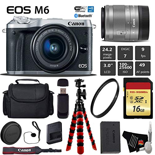 Canon EOS M6 Mirrorless Digital Camera (Silver) with EF-M 15-45mm is STM Lens + Flexible Tripod + UV Protection Filter + Professional Case + Card Reader – International Version Kit