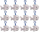 Wildlife Tree Great White Shark Plush 3.5 Inch Stuffed Animal Backpack Clip Toy Keychain Wildlife Hanger Party Favor Pack of 12