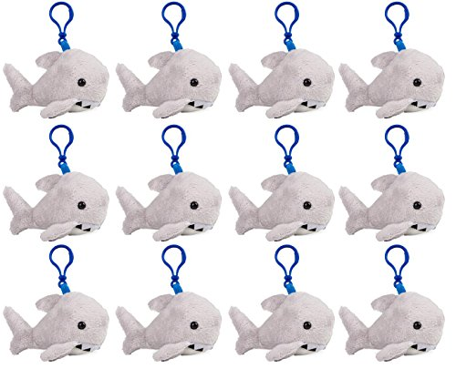 Wildlife Tree Great White Shark Plush 3.5 Inch Stuffed Animal Backpack Clip Toy Keychain Wildlife Hanger Party Favor Pack of 12 by Wildlife Tree
