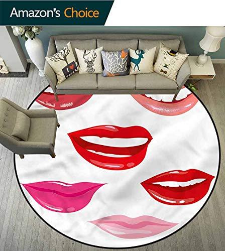 RUGSMAT Modern Round Rug,Red Lips Smiling Feminine Lifts Basket Swivel Chair Pad Coffee Table Rug Diameter-39