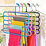Zollyss 5 Layer Plastic Colourful Pants Scarf Trousers Clothes Towels Hanger/Holder (Multicolour, 5 layer-2) - Pack of 2