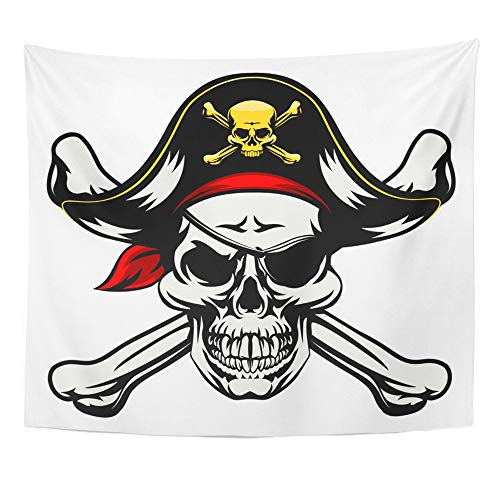 Emvency Tapestry Wall Hanging Polyester Fabric Skull and Crossbones Dressed in Pirate Costume Hat Eye Patch for Bedroom Living Bedspread Room Dorm Decorations 50x60 Inches -