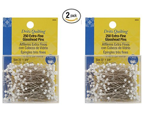 Dritz Quilting Extra Fine Glass Head Pins , 250 Count 2 Pack of 250 count each by Dritz
