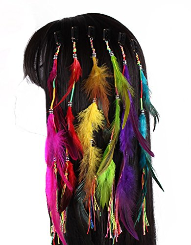 (Set of 6 Handmade Boho Hippie Hair Extensions with Feather Clip Comb Hairpin Headdress DIY Accessories for Women)