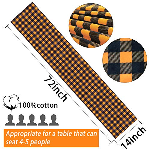 SallyFashion 14 X 72 inches Pumpkin Color Buffalo Plaid Table Runner Cotton Burlap Table Runner for Halloween Holiday Birthday Party Table Home Decoration