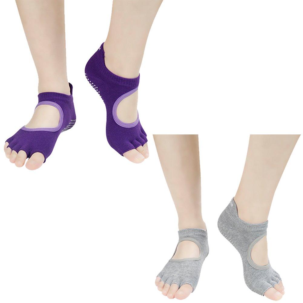 fa2726567 Jcolour Womens Fashion Novelty Full Toe Non Slip Cotton Socks Barre,Pilates, Barre,Dance,Fitness Grip Yoga Socks 1 Pair J'colour ...