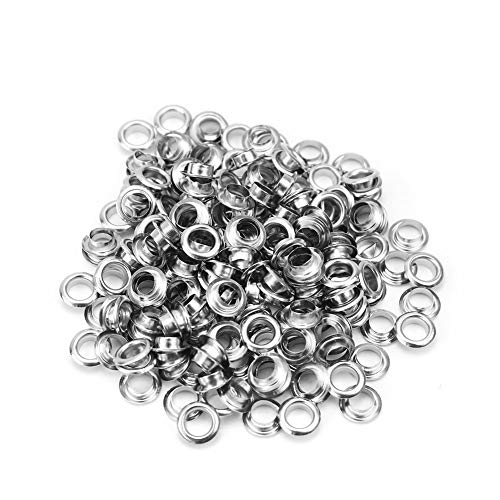 RuiLing 100pcs 6mm Silver Metal Eyelets Round Inner Hole Grommets DIY Rivet Leathercraft Accessories Air-Hole for Shoes Belt Bag Tag Clothes Scrapbook
