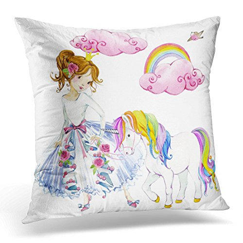 VANMI Throw Pillow Cover Colorful Girl Princess Watercolor Unicorn Pink Cute Dream Decorative Pillow Case Home Decor Square 16x16 Inches (Cute Fairy Costumes For Teenagers)