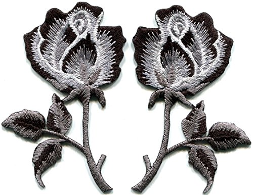 Black roses pair flowers gothic boho rock & roll wicca applique iron-on (Black Rose Flower)