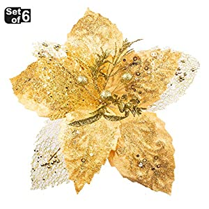 KI Store Large Christmas Poinsettia Flower Ornaments for Christmas Tree Decorations Pack of 6 Oversize Artificial Poinsettia Flower Picks Stems for Xmas Tree Wedding Centerpiece 6