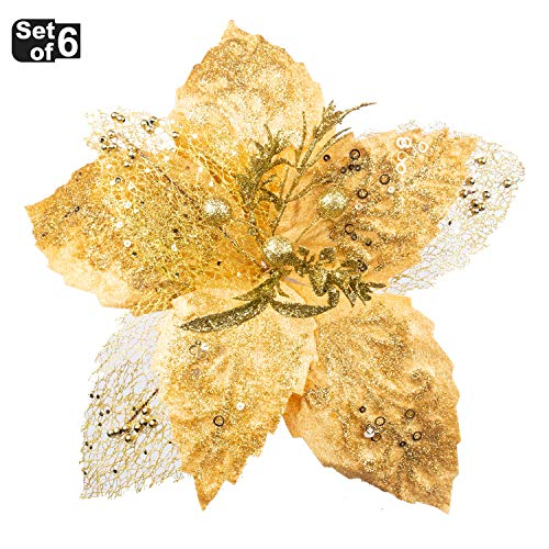 KI Store Large Christmas Poinsettia Flower Ornaments for Christmas Tree Decorations Pack of 6 Oversize Artificial Poinsettia Flower Picks Stems for Xmas Tree Wedding Centerpiece (Gold, 14-Inch)