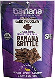 Barnana Organic Crunchy Banana Brittle - Double Chunk Dark Chocolate, 3.5 Ounce - Healthy Vegan Cookie Style Dessert Snack -