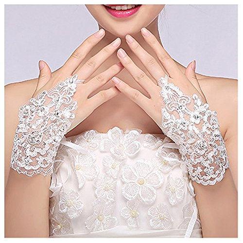 VITORIA'S GIFT The Bride Marriage Dress Wedding Sequin Lace Gloves Wedding Gloves ()
