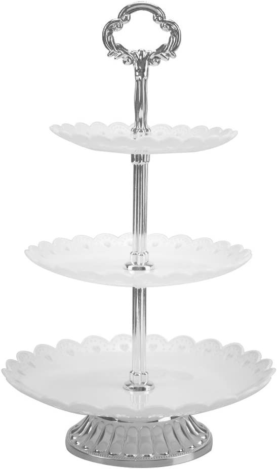 3-tier White Plastic Dessert Stand Pastry Stand Cake Stand Cupcake Stand Holder with Base Serving Platter for Party Wedding Home Decor Silver