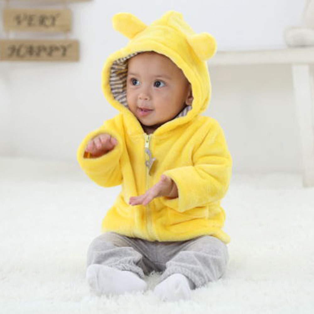 Yousity Children Infant Baby Boys Girls Winter Faux Fur Hooded Cute Ear Plush Stitch Down Coat Warm Outerwear Jacket