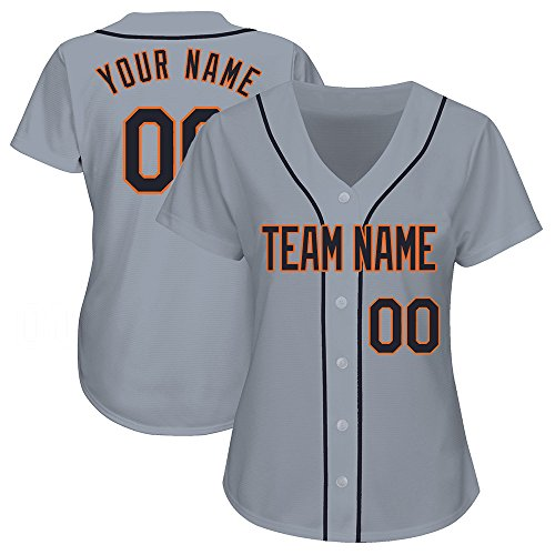 Custom Women's Gray Baseball Jerseys Button Down with Embroidered Team Name Player Name and Numbers,Black-Orange Size (Custom Embroidered Jersey)
